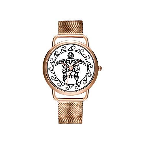 Frauen Uhren Marke Damen Mesh Gürtel ultradünne Uhr wasserdichte Uhr Quarzuhr Weihnachten schwarz Tri English Cocker Spaniel in Snow.png Uhren