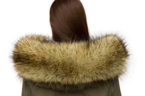 Chic Vibe Cappuccio Assetto Di Ecopelliccia Donna Collare collo di pelliccia ecologica (65cm, Volpe)