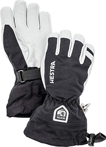 Hestra Army Leather Heli Ski Junior - Classic 5-Finger Leather Snow Glove for Skiing and Mountaineering for Kids and Youth - Black - 4