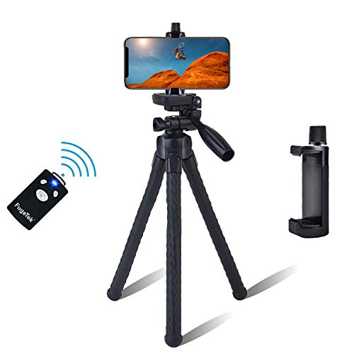 Fugetek Flexible Legs Camera Phone Stand Holder Tripod, FaceTime, Video Calls, Pan Tilt Head, Wireless Bluetooth Remote, Waterproof, for iPhone XR/XS Max, XS/X, 8/8P, Android Samsung Galaxy, (Black)