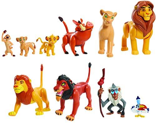 Le König der Löwe, Set mit 10 Figuren, mit Simba, Nala, Pumbaa, Timon, Rafiki, Zazu, Mufasa, Scar, Hyena, Vulture, Spielzeug für Kinder ab 3 Jahren, LNN08