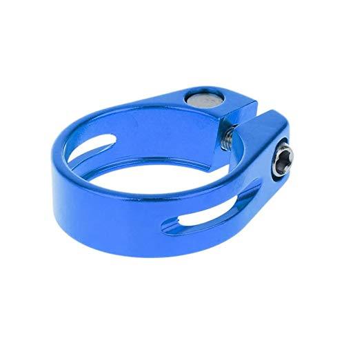 Abrazadera para tija de sillín de bicicleta de montaña de aluminio de 31,8 mm/34,9 mm de liberación rápida para color azul