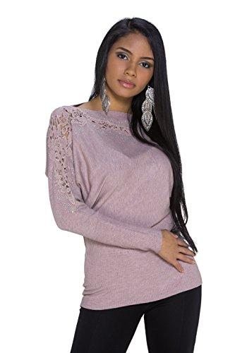 Mujer Manga Larga Jersey Long Jersey con ganchillo brillantes y tachuelas y One Size marrón claro Talla única (Ropa)