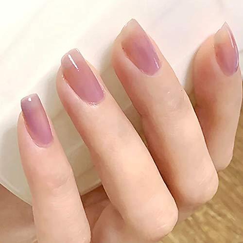 Brishow Künstliche Nägel Falsche Nägel Oval Kurze Gefälschte Nägel Ballerina Stick on Nails Acryl Künstliche Vollabdeckung Drücken Sie auf Nägel 24St. Für Frauen und Mädchen (Pink-Lila)