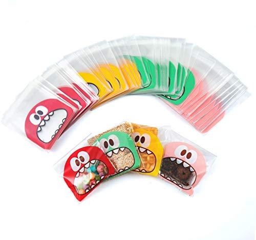 YIQI 300pcs Bolsitas Caramelos Plástico Celofán Autoadhesivas Bolsas Galletas para Regalo Dulces Fiesta Navidad Cumpleaños(13 x 10 cm)