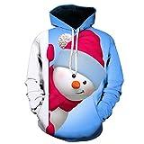 Xmiral Sweatshirt Cappuccio Uomo Felpa con Cappuccio in Felpa con Cappuccio Manica Lunga Stampata 3D di Natale (3XL,1- Blu)