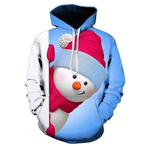 Romantic Kapuzenpullover Herren Weihnachten 3D Druck Schneemann Pullover Oversize Weihnachtspulli Lustige Weihnachtspullover Winter Warme Sweatshirt Mit Kapuze Tops M-7Xl