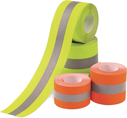 Sew on High Visibility Hi Vis Retro reflective fabric tape (2' x 5 yds, Orange/Silver)
