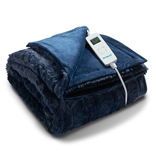 Bedsure Heated Blanket Throw Electric - with 6 Heat Setting, Fast - Heating Blanket 1/2/3/4 H Timer, Auto - Off, Low Voltage Fuzzy Super Soft Flannel Fleece Throw Blanket, 50 x 60 inch Navy Blue