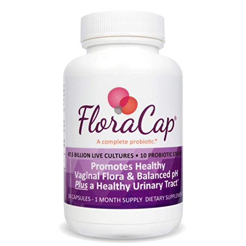 FloraCap Feminine Probiotic for Vaginal Health | 47.5 Billion CFU | 10 Live Strains | Promotes Vaginal Flora and Yeast Balance