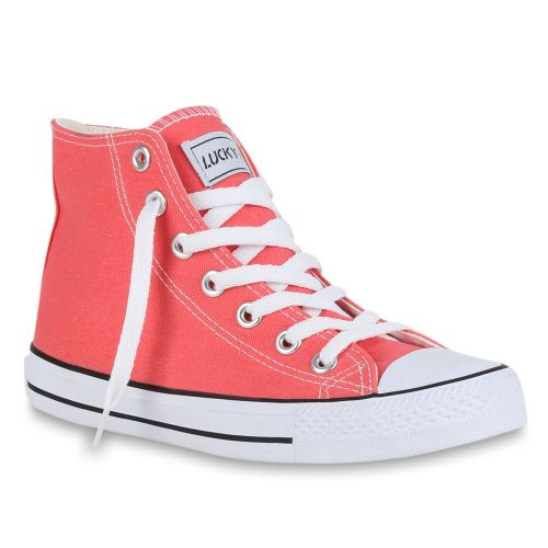 stiefelparadies Sportliche Damen SneakersStoff Camouflage Schnürer Sneaker High Neon Sport Schuhe 46926 Coral 38 Flandell