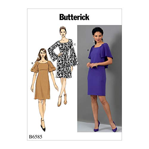 Butterick Patterns Women's Long and Short Sleeve Dress Sewing Patterns, 16-18-20-22-24, White