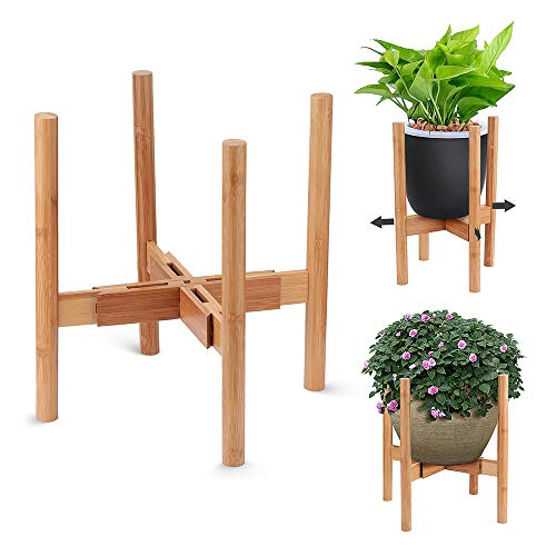AmazeFan Adjustable Plant Stand, Mid-Century Bamboo Flower Pot Holder Fits up to 12' Pots Natural Wood Grain Indoor/Outdoor Modern Home Decor (Plant Not Included)