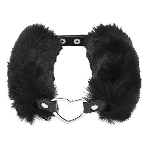 Agoky Einstellbare PU Leder Choker Halsband weiche Kunstpelz Gothic Kragen Halskette Halsgeschirr mit Metall Herz Ring für Männer und Frauen Schwarz One Size