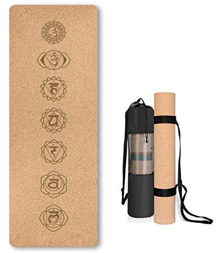 Esterilla de Yoga de Corcho Antideslizante - Alfombra para Entrenamiento de Gimnasia ,sin sustancias nocivas, para Yoga y Pilates - Colchoneta de 183 x 61 x 0.4CM-con Correa de Transporte-Chakras 1