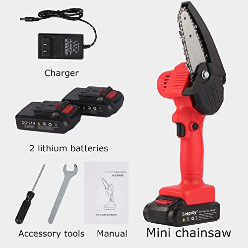 Laecabv 4-Inch Mini Chainsaw, NEW Generation One-Hand Pruning Saw with Protect Flip, Cordless Electric Portable Chainsaw, Battery-Powered Chain Saw for Tree Branch Wood Cutting (4inch, Black)