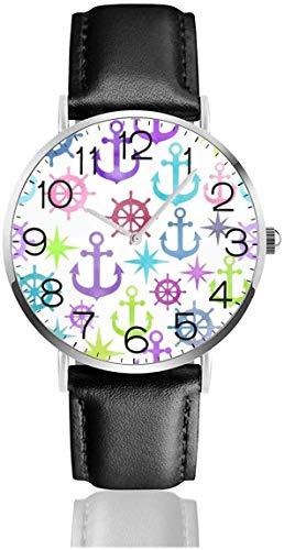 Reloj de Pared Ancla Yelmo Reloj de Cuarzo Reloj de Pulsera de Cuero de Moda con Correa de Cuero Negro para Mujeres, Hombres, niños y niñas