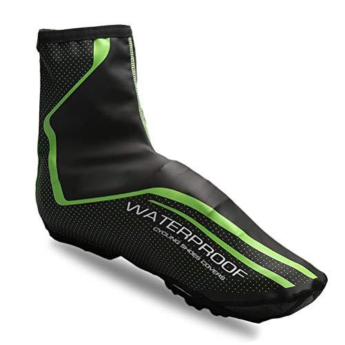 LBCD Cubiertas para zapatos de ciclismo impermeables de invierno para bicicleta de carretera, térmicas, cálidas para hombres y mujeres, botas de bicicleta de montaña, reflectantes, verde, M