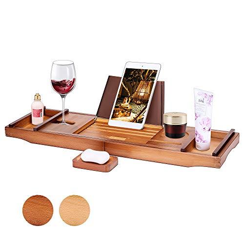 VIVOHOME - Bandeja de bambú para bañera con soporte para teléfono móvil, tablet y libro de vino
