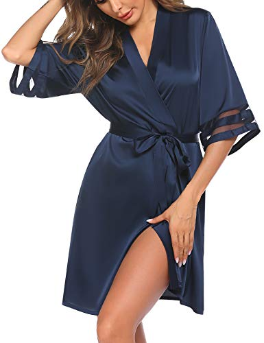 Balancora Morgenmantel Damen Sexy V-Ausschnitt Kimono 3/4 Ärmel Robe Seide Bademantel Negligee Sommer