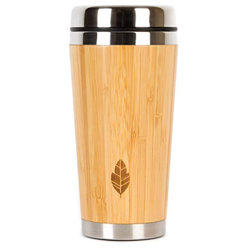 Wood Travel Insulated Coffee Cup   Stainless Steel Bamboo Mug with Lid   Cool Coffee Mugs for Men, Women   Unique Gift   100% Eco-Friendly and Eco-Safe, 14 Ounces / 480 ml