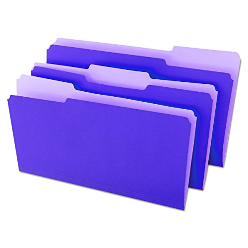 Universal 10525 File Folders, 1/3 Cut One-Ply Top Tab, Legal, Violet/Light Violet (Box of 100)