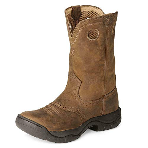 Twisted X Men's All Around Distressed Saddle Water Resistant Cowboy Boots, Distressed Saddle, 10.5 M