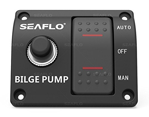 SEAFLO 3-Way Bilge Pump Panel Rocker Switch Automatic/Off/Manual with Built in 15A Circuit Breaker 12v 24v 32v