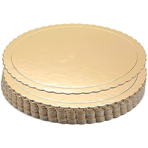 Plats de Présentation à Gâteau Circulaires à Bord Festonné (Ensemble de 12) - 25,4 cm de diamètre - Or