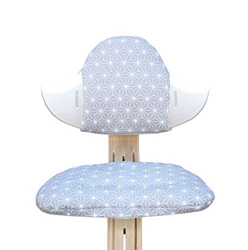 Blausberg Baby - Sitzkissen Set für Nomi Hochstuhl von Evomove - Happy Star Grau