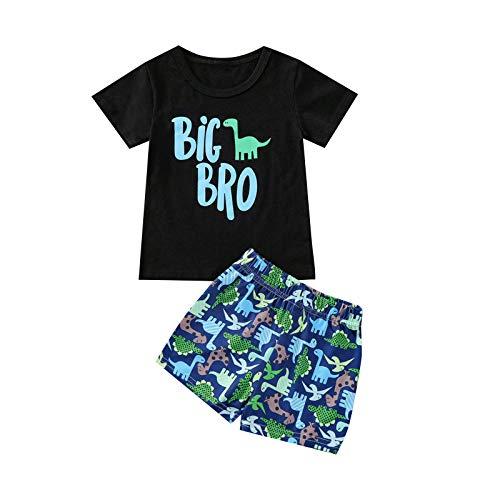 2021 Neugeborenes Säugling Baby Jungen Sommer Brief Strampler + Dinosaurier Shorts Outfits Set Gr. 2-3 Jahre , Schwarz