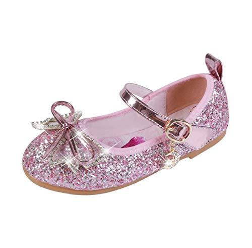 STRDK Niña Princesa Zapatos Sandalias Elsa Reina de Nieve Disfraz Zapatos de Cristal a Juego Niños Baile Zapatos Ballet Fiesta de Vestir Lentejuelas Arco Cosplay Fiesta Zapatos Azul Rosado Plata