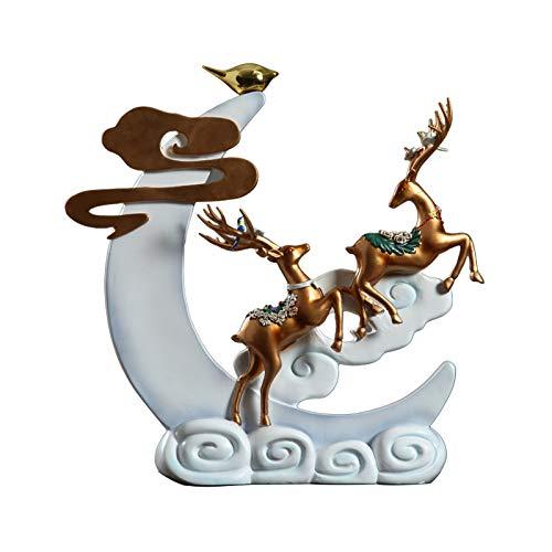 zlw-shop Nuevo Chino Afortunado Ciervos decoración de la decoración de Vino Entrada Sala de Estar casa Resina Escultura Ciervos Interior Ciervo Ornamento Artesanal Regalo de Boda