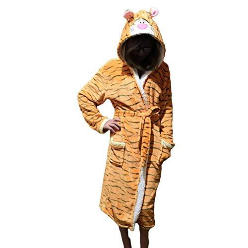 Frauen Robe Bademäntel Nachtwäsche Weibliche Winter Warme Flanell Einhorn Stich Langhülse Nachthemd, Tigger, L