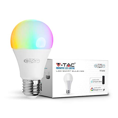 v-tac lampadina LED 9 W Smart WiFi, RGB bianco e multicolore, dimmerabile, auto ON/OFF, compatibile con Google e ALEXA Home, no Hub required, E27 Edison a vite standard base, Rgb+6000k, E27