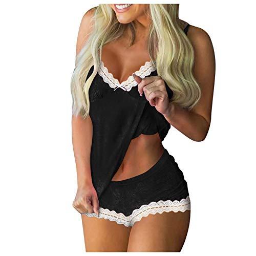 Pyjama Set Damen, Kurz Schlafanzug mit Shorts, Valentinstag/Weihnachten Nachtwäsche Set Zweiteilige Nachthemd Sexy Kleider für Frauen Spitzen Unterwäsche Kostüm Minirock Sleepwear S-XL