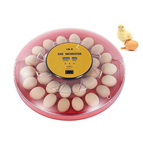 CO-Z Incubatrice per Uova con Rotazione Automatica e Controllo Umidità e Temperatura Incubatrice per Uova di Gallina, Anatra e Quaglia Incubatrice Digitale per Uova (30 Uova)