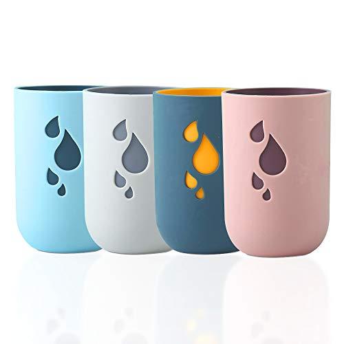 4 vasos de plástico ecológicos, vasos irrompibles de 12 onzas, vasos reutilizables con multiuso para baño, cocina, oficina, viajes, fiesta (verde oscuro, azul claro, rosa, beige)