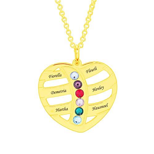 Collar familiar personalizado con nombre grabado y collar con piedra de nacimiento, collar con colgante de corazón para mujer(Dorado 24)