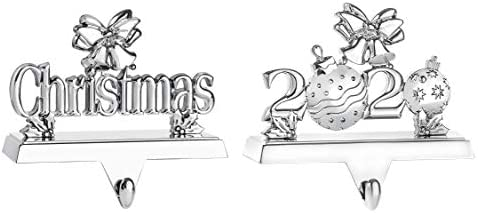 Klikel Christmas Stocking Holder 2020 Silver Stocking Hanger for Mantle Christmas 2020 Set of product image