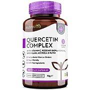 Quercetin-Komplex mit VitaminC – Fördert die gesunde Funktion des Immunsystems – 120vegane Kapseln mit Hagebutte, Bioflavonoiden, Bromelin, Acerola und Rutin - von Nutravita