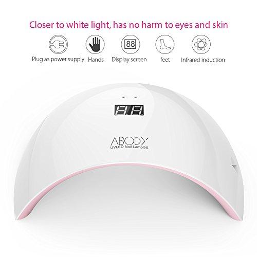 Lámpara de Uñas Abody 24W Lámpara UV y LED para Uñas Secadores de Uñas Pantalla LED Carga USB-Rosa