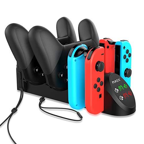 PiAEK Ladestation für Nintendo Switch Pro Controller Joy Con 6 in 1 Ladestation mit Individueller LED-Anzeige Unterstützt das N-Switch-Dock (Black)
