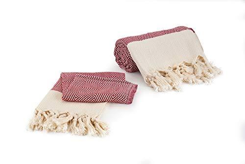 Goldfaden Strandtuch Groß Hamamtuch XL 100% Baumwolle mit Extra-Handtuch, Pestemal-Set Groß (95 x 180 cm) und Klein (50 x 100 cm) praktisches Badetuch, Reisehandtuch, Saunatuch (Karmesinrot)