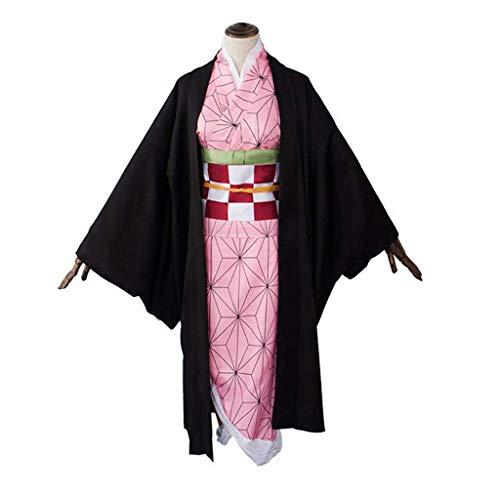 Kamado Nezuko Cosplay con caa de bamb para mujer, disfraz de anime, demostracin, kimetsu no Yaiba, disfraz de uniforme, disfraz de Halloween (M)