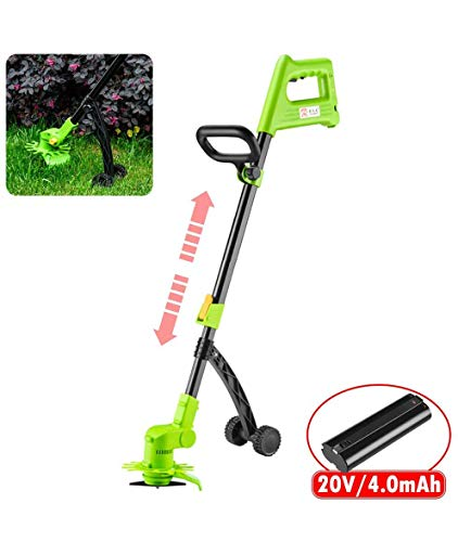 Best Bargain JXH Cordless Electric Strimmer,with Auxiliary Wheels and 20V/4.0A Rechargeable Battery,...