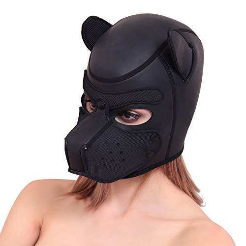 SIUNRIYO Halloween-Kostüm aus Latex-Gummi Role Play Dog Mask Puppy Cosplay Voller Kopf mit Ohren in 10 Farben, Schwarz Einheitsgröße