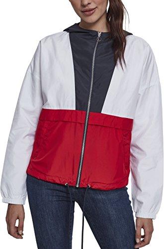 Urban Classics Damen Jacke Übergangsjacke Ladies 3-Tone Oversize Windbreaker - Farbe navy/white/fire red, Größe XL
