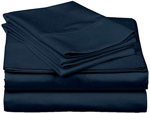 100% Cotton Sheets, 4 Piece Premium Sheet Set 600 Thread Count Sateen Weave Long Staple Cotton Bed Sheets, Fit Up to 15-Inch-Deep Pocket (Queen, Navy Blue Solid)