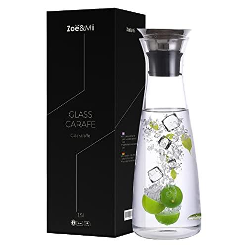 Zoë&Mii Jarra de cristal original de 1,5 l – Jarra de agua con tapa de acero inoxidable – Jarra de cristal – Jarra de cristal – Jarra de agua y decantador de vino
